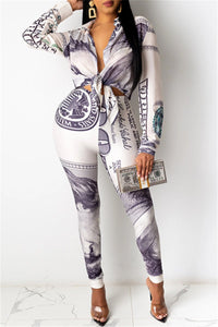 Printed Wrap Shirt& Pants Sets