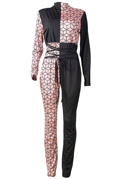 Color Splicing Bandage Jumpsuit