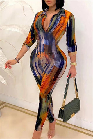 V Neck Printed Bodycon Jumpsuit