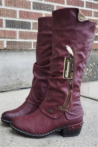 PU Zipper Splicing Boots