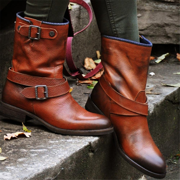 PU Buckled Ankle Boots