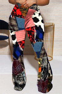 Casual Color Splicing Printed Flare Pants