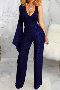 One Sleeve V Neck Jumpsuit