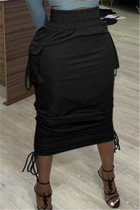 Solid Color Drawstring Skirt