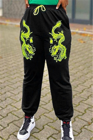 Casual Dragon Embroidery Pants