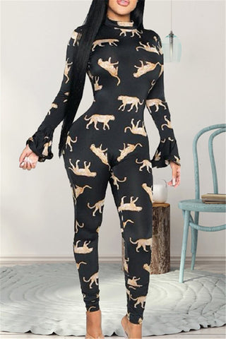 Animal Printed Hollow out Jumpsuit