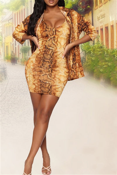 Leopard Printed Cami Dress& Coat Sets