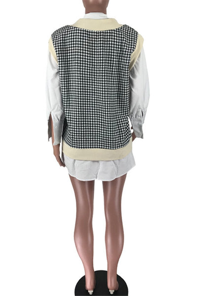 Knit Houndstooth Vest Splicing Dress