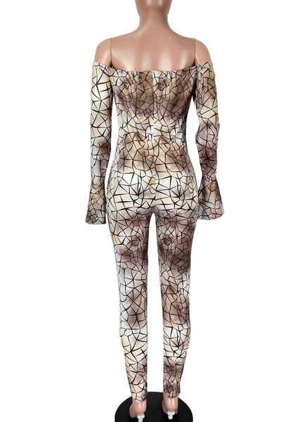 Off Shoulder Printed Womens Jumpsuit