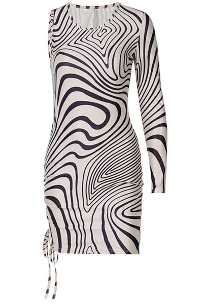 One Sleeve Printed Womens Dress