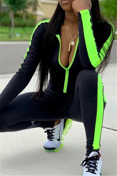 Color Splicing Womens Jumpsuit