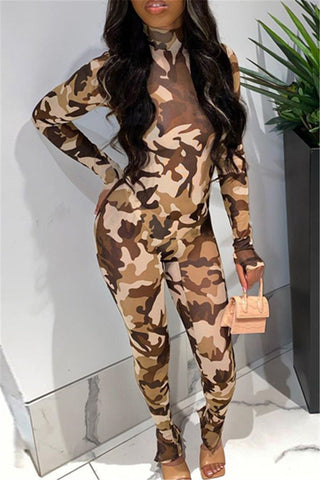 Camo Printed Womens Jumpsuit