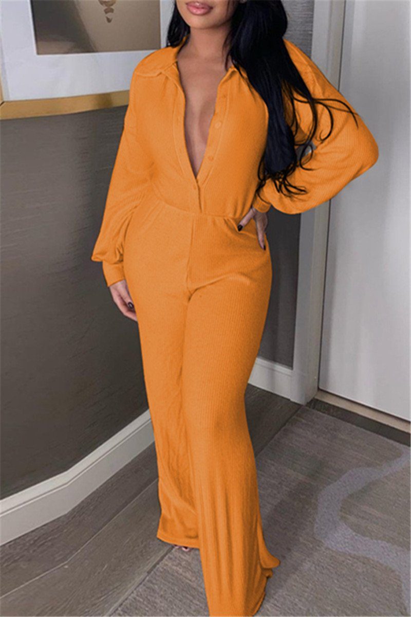 Casual Solid Color Womens Jumpsuit