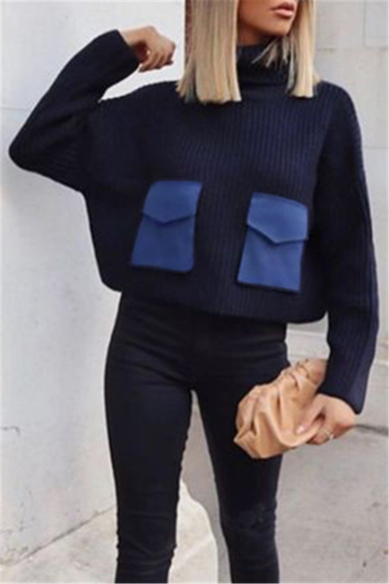 High Collar Sweater With Pockets