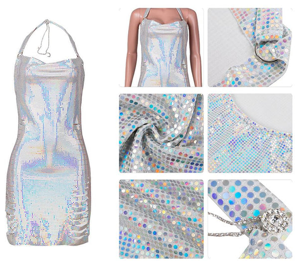 Sequin Splicing Halted Womens Dress
