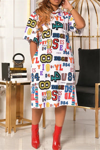 Letter Printed Hooded Womens Dress