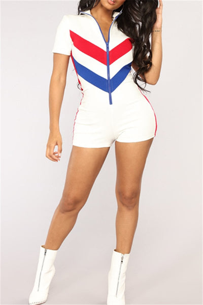 Color Splicing Womens Workout Romper