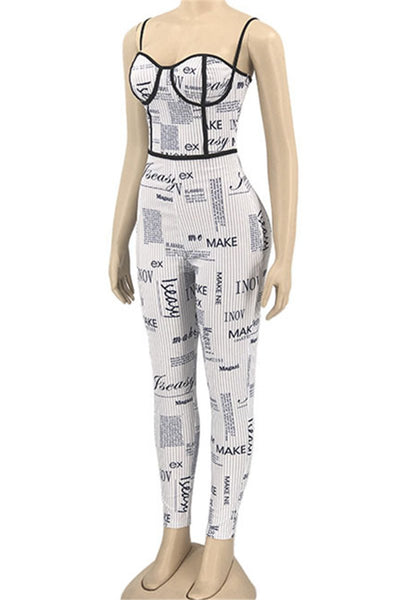 Letter Printed Cami Womens Jumpsuit