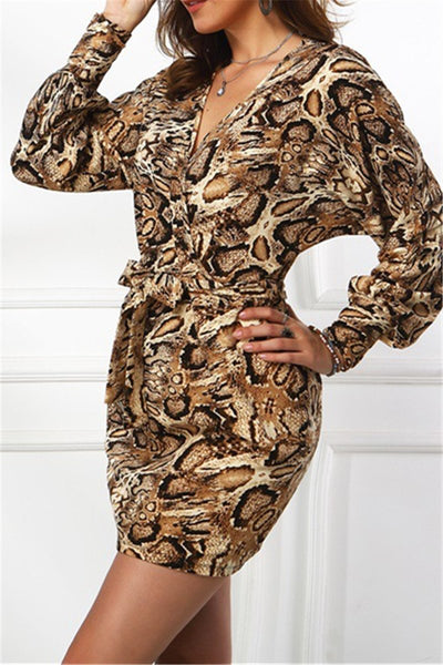 Casual Leopard Printed Womens Dress