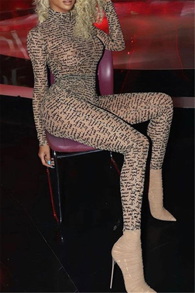 High Collar Printed Net Yarn Jumpsuit