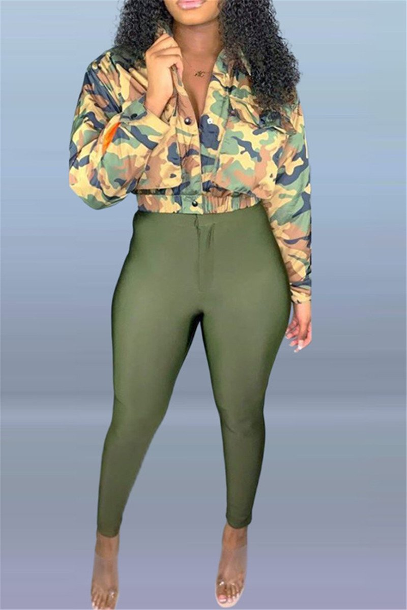 Camo Printed Jacket& Pants Sets