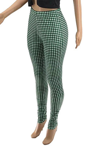 Lattice Printed Zipper Womens Pants