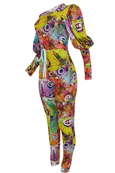 Puff Sleeve Printed Womens Jumpsuit