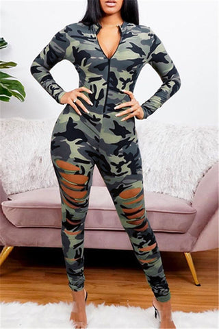 Camo Printed Distressed Womens Jumpsuit