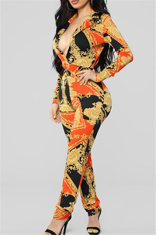V Neck Printed Womens Jumpsuit