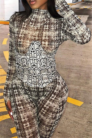 Printed Net Yarn Jumpsuit With Waistband