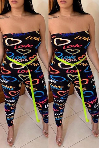 Letter Printed Tube Womens Jumpsuit