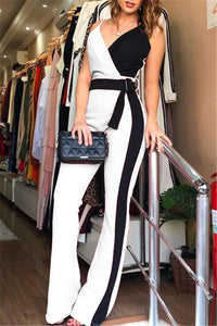 Color Splicing Womens Jumpsuit With Belt