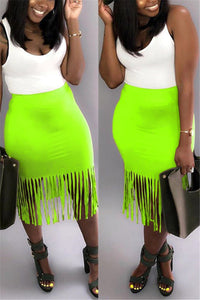 Plus Size Solid Color Tassel Skirt - ezcute
