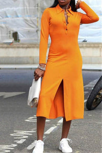 Solid Color Split Midi Dress - ezcute