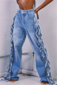 Plus Size Tassel Splicing Denim Pants - ezcute