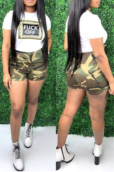 Printed Top& Camo Shorts Sets