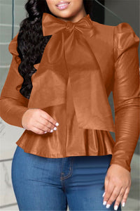 Solid Color Bowknot PU Top