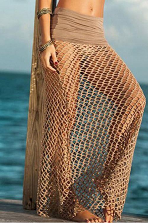 Taupe Mesh Cover Up - ezcute