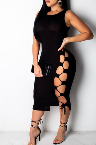 Hollow Out Bandage Mini Dress - ezcute