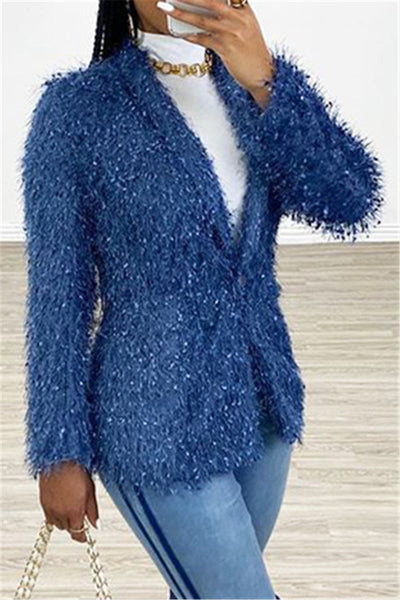 Casual Fur Splicing Blazer - ezcute