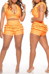 Solid Color Ruffle Top& Shorts Sets