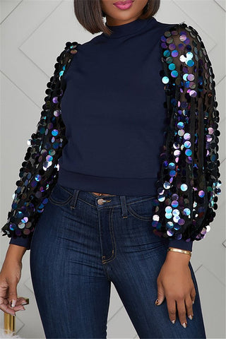Sequin Splicing Sleeve Top - ezcute