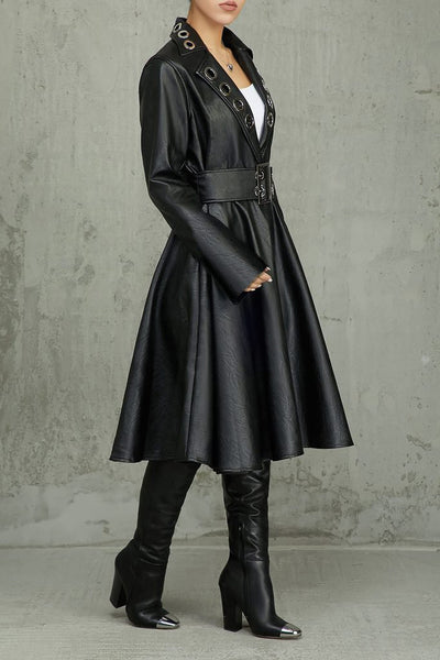 PU Leather Coat With Belt - ezcute