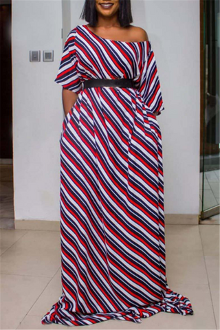 Short Sleeve Printed Maxi Dress - ezcute