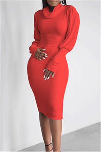 High Collar Bodycon Midi Dress - ezcute
