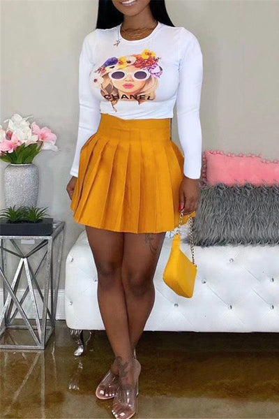 Printed Top& Pleated Short Skirt Sets - ezcute