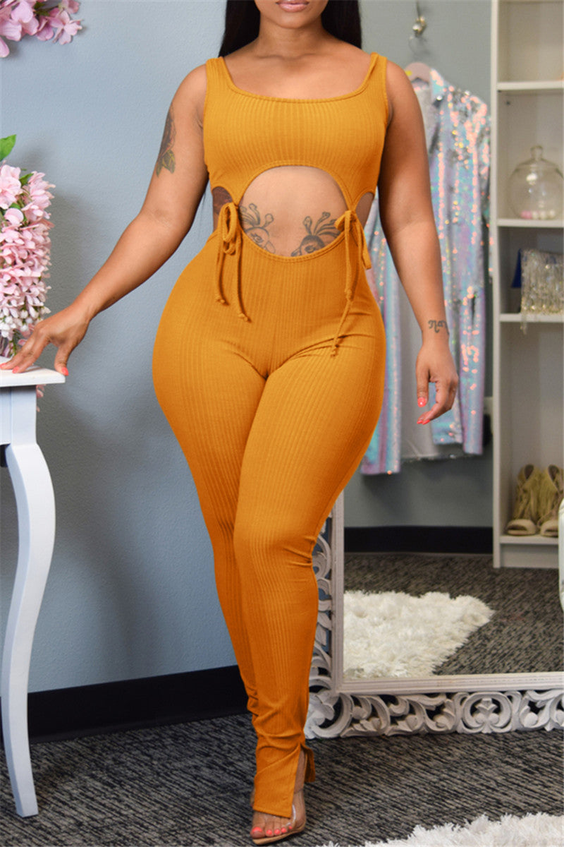 Solid Color Bandage Cami Jumpsuit