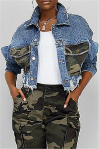 Camo Splicing Denim Short Jacket - ezcute