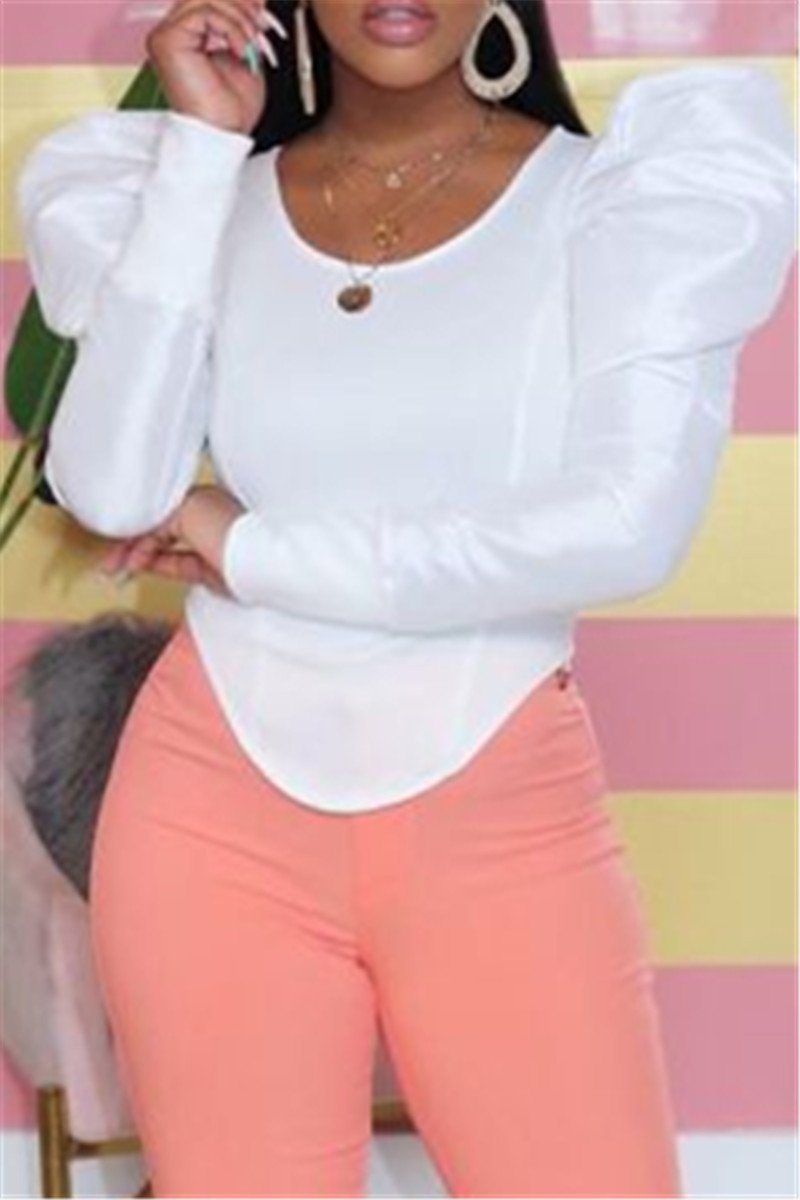 Solid Color Bubble Sleeve Top