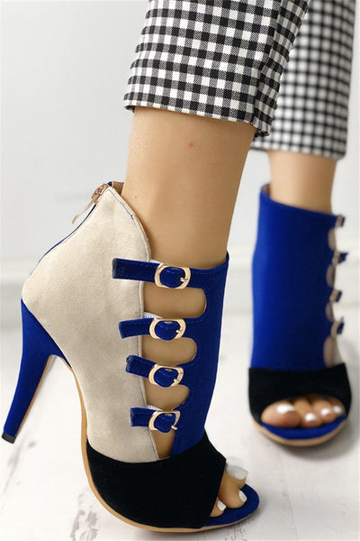 Colorblock Splicing Hollow Out Buckled Thin Heels - ezcute